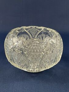 Antique vintage clear pressed glass rose / candy bowl 1910s 1920s