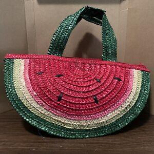 Far Nine Watermelon Straw Purse Handbag Wicker Vintage Retro Rockabilly Pinup