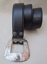 "Vintage Women's ""Al Beres"" Black Leather Belt Sterling Silverplate Hardware sz28"