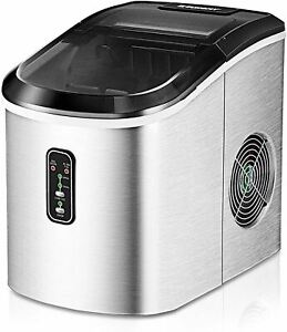 Euhomy Ice Maker Machine Countertop, 26 lbs in 24 Hours, 9 Cubes Ready in 8 Mins