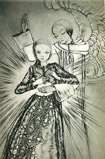 Sulamith Wulfing 1940 THE ANGEL Shining LIGHT on a Girl Art Card Print Matted