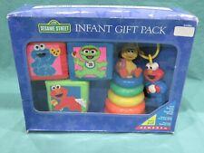 New Vintage Sesame Street Infant Gift Pack Baby Toys Soft Blocks Stacking Rings