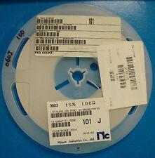 NIC Corp 0603 Size Resistor Reel 100 Ohm, 5%, NRC06J101TR, 5000pcs