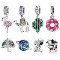 Charm Bracelets Real Silver 925 Flamingo Women Charm for European Bracelets Gift