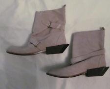 UN UNITED NUDE soft light gray suede adjustable straps geometric heel boots 39 8