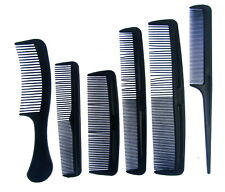 6 Pcs Black Comb Set Hairdressing HairStyling Various length&Teeth Size Gift Set