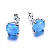 Sweet Round Blue Fire Opal Ear Stud Silver Plated Stud Earrings Women's Jewelry