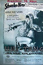 IFK + 1930 + ANNA MAY WONG + HAI-TANG + PREMIERE + 19th March + SCHWEDENKINO +