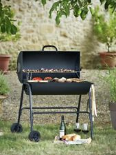 More details for oil drum bbq barbecue with cover utensils and warming rack grill charcoal smoker