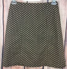 DKNY Polka Dot Skirt Womens Size 4 Brown White Dots Career Occasion Casual Knee