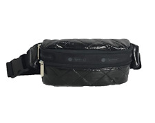LeSportsac Double Zip Belt Bag Waist Pack, Black Crinkle Quilted Fanny pack new