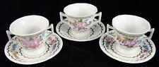 Vintage Michel Swiss Paris Lot of 3 Porcelain Demitasse Cups and Saucers France