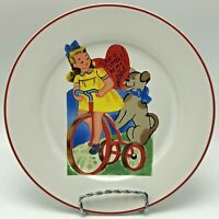 "Rosanna Studio Retro Valentine 8"" Plate Take a Tumble Be My Valentine Tricycle"