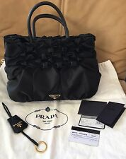 "PRADA Authentic Ruched ""Tessuto  Nero"" Gold Hardware Hand Bag"