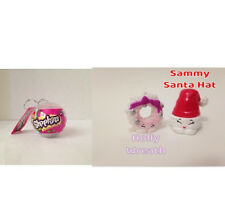 NEW Shopkins White Christmas Ornament Sammy Santa Hat & Pink Holly Wreath 2016!