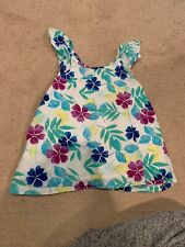 Gymboree Girls Hawaiian Racerback Ruffle Sleeves Top Blue Purple White 5–6