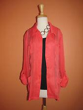 Chico's Size 2 (M 12-14) Orange Semi Sheer Convertible Sleeve Airy Shirt Jacket