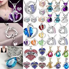NT Fashion Women Silver Chain Crystal Rhinestone Pendant Necklace Jewelry Gift