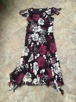 Country Casuals Dress 14 Aubergine floral Silk Fit Flare Lined Midi VGC Free P&P
