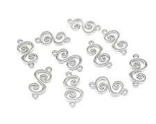 10 Silver Tone S Shape Swirl Connectors Charms Pendants 18x9mm