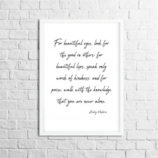 Audrey Hepburn Print With Quote, Home Decor Ideas, Inspirational Prints QP5