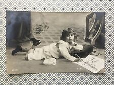 Cute Boy writing letter Glamour Fashion RPPC Original Vintage Postcard