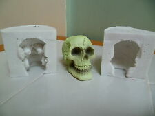 5cm 3D SKULL TWO PIECE SILICONE MOULD FOR CAKE TOPPERS CHOCOLATE, CLAY ETC