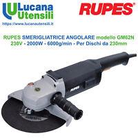 RUPES SMERIGLIATRICE ANGOLARE modello GM62N 2000W - 230V Disco 230mm - 6000g/min