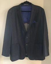 Ben Sherman 2 Button Suit Blazer 46L Black Elbow Pads 4 Buttons On Cuffs EUC
