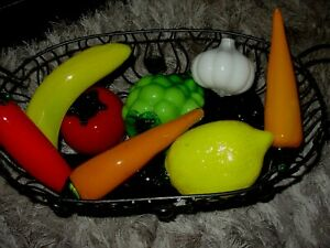 Vintage Lot of 10 Murano Style Glass Decorative Fruits & Vegetables & Wire Baske