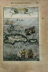 HISPANIOLA PORTO RICO 1683 ALAIN MANESSON MALLET ANTIQUE MAP IN COLORS 17TH C.