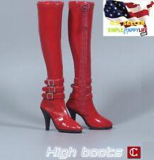 """1/6 Women RED High heels Boots Zipper Shoes For 12"""" figure phicen kumik ❶USA❶"""