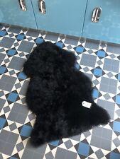 100% GENUINE RARE Jet Black Velvet Sheepskin Rug Thick Real Wool LARGE! Fluffy.