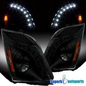 For 2008-2014 Cadillac CTS Black Smoke Projector Headlights L+R