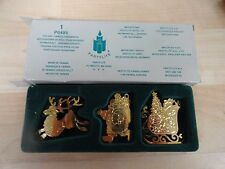 Party lite 3 Christmas  ornaments  gold color design Santa Reindeer sleigh IOB