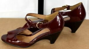 Sofft Maroon Red T Strap Peep Toe Wedge Patent Leather Heels Size 9 W