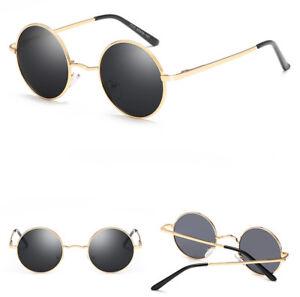 Gold Metal Round Polarized Sunglasses Vintage John Lennon Hippie Retro Glasses