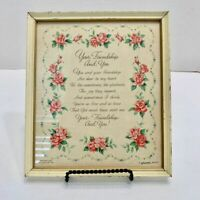 """Antique Hallmark Motto """"Your Friendship and You"""" Print Art Poem Dated 1943"""