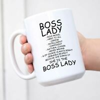 Funny Mug - Boss Lady Role Model Caring Description Ceramic Coffee Mugs