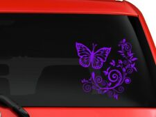 """Butterfly and Flower nice design car truck SUV laptop Kitchen wall 7"""" Purple"""