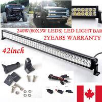 "42inch 240W LED Work Light  Bar Flood Spot Combo Jeep Offroad Truck 4WD SUV 40"""