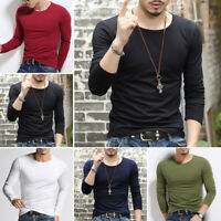 Mens Casual Slim Fit Long Sleeve Crew-neck T-shirts Tee Shirt Tops Blouse