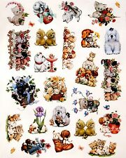 "MOOREHEAD PUPPY KITTEN DOG CAT STICKERS SEALS 8""X10"" Full Sheet  #25"