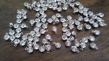 50 PC LoT GeMs CRySTaL RHiNeSToNe SiLvER ChArMs CLeAR RoUnD DiVa GiRLy 8x6mm NeW