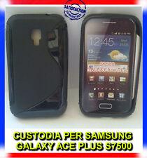 Pellicola + Custodia cover case WAVE NERA per Samsung Galaxy Ace plus S7500 (H8)