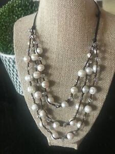 Gorgeous Handcrafted Multi Strand Baroque Freshwater Pearls & Crystals Necklace