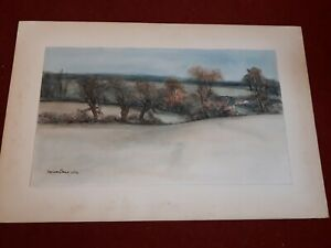 ORIGINAL WATERCOLOUR : A Suffolk Landscape By Vernon Tong. Dated.1972.
