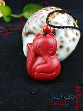 2018 Fashion Natural Red Organic Cinnabar Fox Necklace Pendant Lucky Amulet Hot