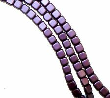 Purple 6mm Square Glass Czech Two Hole Tile Bead 25 Beads