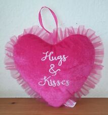 Hugs & Kisses Plush Heart Pillow (9 in.) Pink C3836
